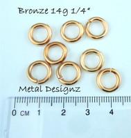 """Bronze Jump Rings 14 Gauge 1/4"""" id."""
