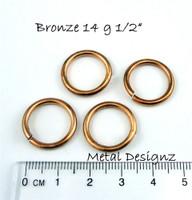 """Bronze Jump Rings 14 Gauge 1/2"""" id."""