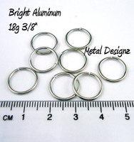 "Bright Aluminum Jump Rings 18 Gauge 3/8"" id"