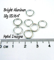 Bright Aluminum Jump Rings 18 Gauge 15/64""