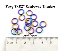 "Rainbowed Anodized Titanium Jump Rings 18 Gauge 7/32"" id."