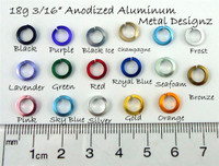 Square Anodized Aluminum Jump Rings 18 gauge 3/16""