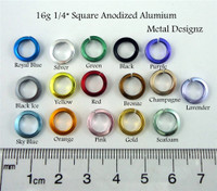 Square Anodized Aluminum Jump Rings 16 gauge 5/16""