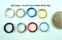 Square Anodized Aluminum Jump Rings 16 gauge 3/8""