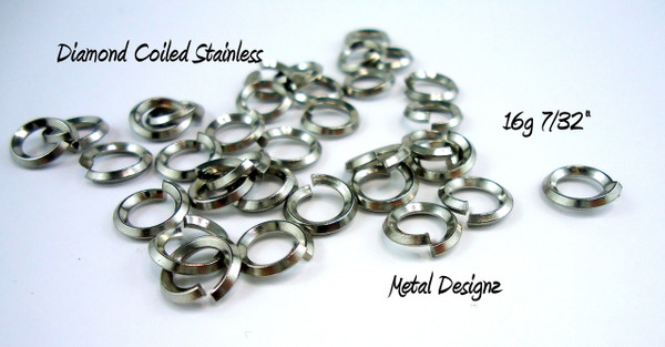 """Diamond Coil - On Edge Stainless Steel Square Wire Jump Rings - 16g 7/32"""" - Perfect for Byzantine"""