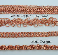 "Square Copper Wire Twisted Jump Rings 18 7/32"" id."