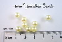 Undrilled Acrylic Pearls - 6mm Cream - Bag of 50