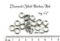 Diamond Coiled Square Stainless Steel Jump Rings 16 Gauge 1/4""
