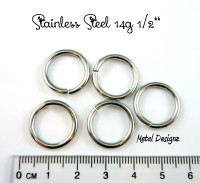 "Stainless Steel Jump Rings 14 Gauge 1/2"" id."