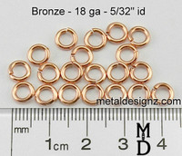 "Bronze Jump Rings 18 Gauge 5/32"" id."