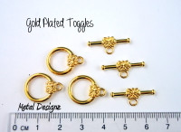 Toggles - Bag of 10 - Round 14mm smooth - Gold Plated