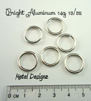 "Bright Aluminum 14g 13/32"" Jump Rings - Saw Cut Premium Jump RIngs"