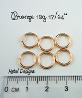"Bronze 18g 17/64"" Jump Rings - Saw Cut Premium Jump RIngs"