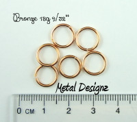 "Bronze 18g 9/32"" Jump Rings - Saw Cut Premium Jump RIngs"