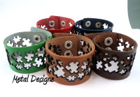 Leather Cuff - Puzzle piece Cut outs - Autism Awareness