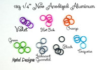 New Anodized Aluminum Jump Rings 18 Gauge 1/4""