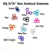 New Anodized Aluminum Jump Rings 18 Gauge 3/16""
