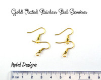 Gold Plated Stainless Steel Ear Hooks - Bag of 10 Pair