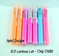 11/0 Round Miyuki Luminous Clearance  -- Lot 012 -7 tubes of beads (23g) Half price!