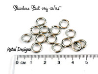 "Stainless Steel Jump Rings 16 Gauge 13/64"" id."