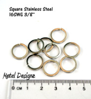 Square Stainless Steel Rings - 16g 3/8""