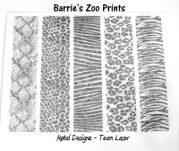 "Laser Cut Texture Paper - Barrie's Zoo 5""x1"" Animal Prints"