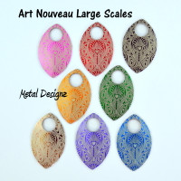 Art Nouveau Engraved Anodized Aluminum Large Scales