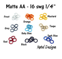 "Anodized Aluminum Jump Rings 16 Gauge 1/4""- MATTE COLOURS"