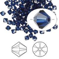 Swarovski Crystal, 4mm  bicone (48pk), Dark Indigo