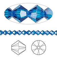 Swarovski Crystal, 4mm  bicone (48pk), Capri Blue