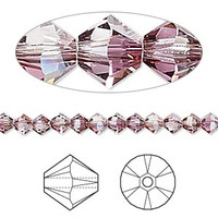 Swarovski Crystal, 4mm  bicone (48pk), Crystal Lilac Shadow