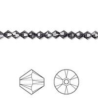 Swarovski Crystal, 4mm  bicone (48pk), Graphite