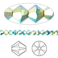 Swarovski Crystal, 4mm  bicone (48pk), Jet AB 2x