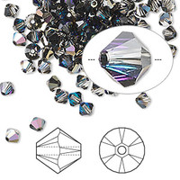Swarovski Crystal, 4mm  bicone (48pk), Crystal Heliotrope