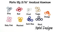 "Anodized Aluminum Jump Rings 18 Gauge 3/16"" - Matte Colours"