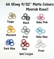 "Anodized Aluminum Jump Rings 18 Gauge 9/32""- MATTE COLOURS"