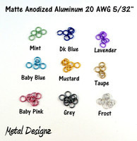 "Anodized Aluminum Jump Rings 20 Gauge 5/32""- MATTE COLOURS"