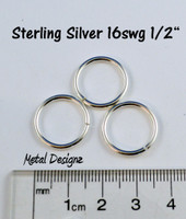 "Sterling Silver Jump Rings 16 Gauge 1/2"" id."
