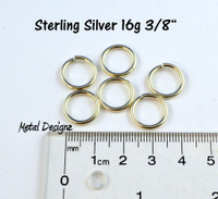 "Sterling Silver Jump Rings 16 Gauge 3/8"" id."