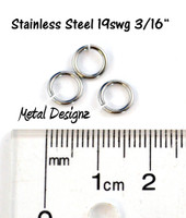 "Stainless Steel Jump Rings 19 Gauge 3/16"" id."