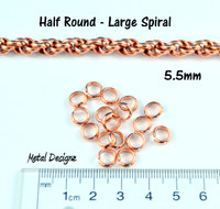 Half Round Copper Rings - Larger Spiral - 5.5mm ID