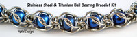 Caged Ball Bearing Bracelet Kit - Stainless Steel and Titanium - Large