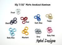 "Anodized Aluminum Jump Rings 18 Gauge 7/32""  Matte"