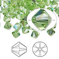 Swarovski Crystal, 4mm  bicone (48pk), Peridot AB