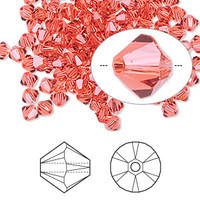 Swarovski Crystal, 4mm  bicone (48pk), Padparadscha