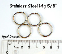 "Stainless Steel Jump Rings 14 Gauge 5/8"" id."