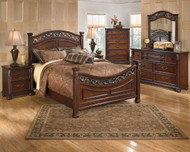Leahlyn Warm Brown 7 Pc. Dresser, Mirror, King Panel Bed & 2 Nightstands