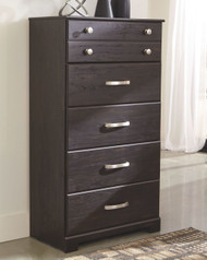 Reylow Dark Brown Five Drawer Chest