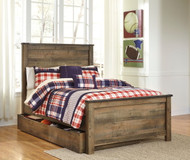 Trinell Brown Full Panel Bed with Trundle Storage Box