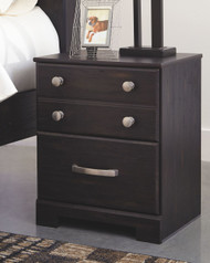 Reylow Dark Brown Two Drawer Night Stand